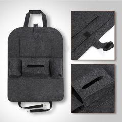 1pc Universal Car Back Seat Storage Bag Organizer Trunk Elastic Felt Storage Bag 6 Pockets Organizer Hanging Car Accessories