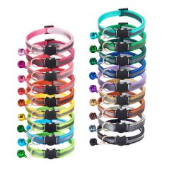 18 Colors Cats Bells Collars Adjustable Nylon Buckles Fashion Reflective Pet Collar Cat Head Pattern Supplies For Accessories
