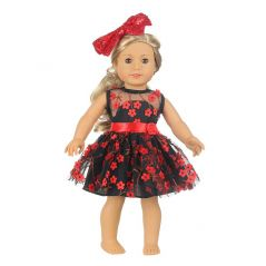 18''Doll Dress+Hairpin Fashion Princess Style Red Rose Clothes For 43 Cm New Baby Born American Toys For Girl's Gift Accessories