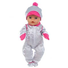 Born New Baby Fit 17 Inch 43cm Doll Clothes Doll Hat Silver Red Gloves One-Piece Romper Accessories For Baby Birthday Gift
