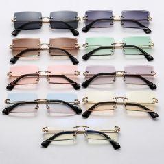 2020 Small Rimless Sunglasses Women Summer Style Rectangle Sun Glasses Green Brown Shades Female UV400 Mirrors Glasses Eyewear