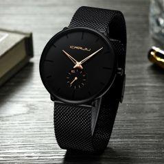 CRRJU 2150 Fashion men watches Top brand Causal Ultra-thin Mesh Steel Wristwatch men  Black sport waterproof Quartz Watch reloj