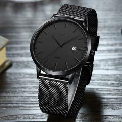 CRRJU Fashion Mens Watches Ultra Thin Quartz Watch Men Casual Slim Mesh Steel Waterproof Sport Watch Black Relogio Masculino