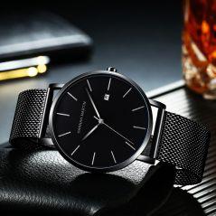 Japan Quartz Movement Full Black Simple Design Original Classic Men Watches With Calendar Leisure Fashion Waterproof Wrist Watch
