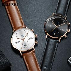 Quartz Watch Men's Watches 2020 Modern Chronograph Men Watch Leather Strap Watches Man Imitation Luxury Belushi Sports Watch
