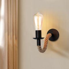 Vintage Hemp Rope Wall Lamp Wood Wall Lamp E27 110V 220V Indoor Loft Outdoor corridor Wall Lights Industrial Sconce Bedside Lamp