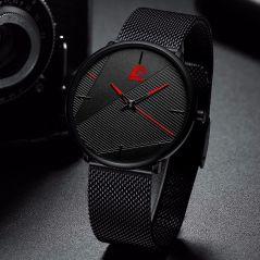 reloj hombr 2020 Fashion Watches Men Classic Black Ultra Thin Stainless Steel Mesh Belt Quartz Wrist Watch relogio masculino