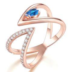 Beiver Rose Gold Color AAA+ Cubic Zircon CZ Cluster V Letter Open Size Finger Ring
