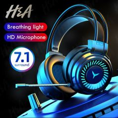 H&A Gamer Headphones Gaming Headsets Surround Sound Stereo Wired Earphones USB Microphone Colour Light PC PS4 Xbox Game Headset