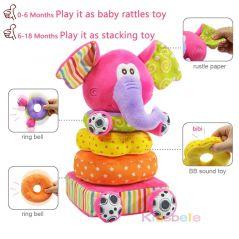 Toys For Newborn Children Educational Baby Toys Soft Plush Mobile Rattles Toys Kidsbele Elephant Stacking Baby Toys Handbell