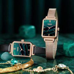 Gaiety Brand Women Watches Fashion Square Ladies Quartz Watch Bracelet Set Green Dial Simple Rose Gold Mesh Luxury Women Watches