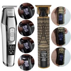 Kemei Electric Hair Clipper Professional hair trimmer For Men Beard shaver LCD 0mm Barber Hair Cutting Machine chargeable Razor