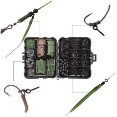 420Pcs/Box Carp Fishing Tackle Kit Including Swivels Hooks Anti Tangle Sleeves Hook Stop Beads Boilie Bait Screw Accessories