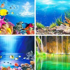 Aquarium Landscape Sticker Poster Fish Tank 3D Background Painting Sticker Double-sided Ocean Sea Plants Aquarium Decor
