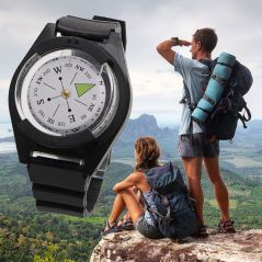Tactical Wrist Compass Outdoor Camping Tool Survival Adventure Hiking Tourism Equipment Fishing Hunting Accessories Black Band