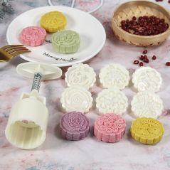 6 Style Round/Square Flower Mooncake Mold Set 100g Mid Autumn Festival DIY Hand Pressure Fondant Moon Cake Mould Decoration Tool