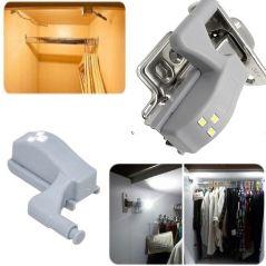 10pcs Led Motion Sensor Cabinet Light 0.3W Cupboard Closet Wardrobe Door Inner Hinge Night Lamp for Kitchen Bedroom with Battery