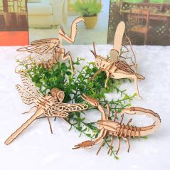 Baby Toy Montessori 3D Puzzle DIY Jigsaw Board Wooden Puzzle Insect Animal Handmade Educational Assembly Toy Gift for Children