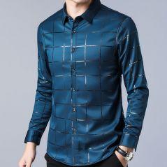 2021 Brand Casual Spring Luxury Plaid Long Sleeve Slim Fit Men Shirt Streetwear Social Dress Shirts Mens Fashions Jersey 2309
