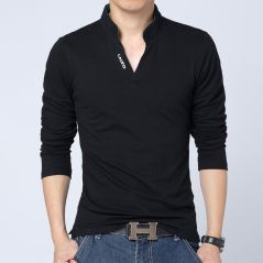 2021 T-Shirt Men Spring Cotton T Shirt Men Solid Color Tshirt Mandarin Collar Long Sleeve Top Men Brand Slim Fit Tee Shirts 5XL
