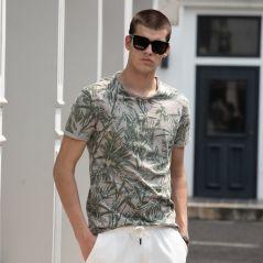 AIOPESON 2021 Hawaii Style 100% Cotton T-Shirt Men O-neck Print Shirt Men Casual Men Clothing Summer High Quality Men's T Shirts