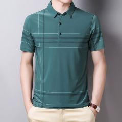 Ymwmhu Fashion Slim Men Polo Shirt Black Short Sleeve Summer Thin Shirt Streetwear Striped Male Polo Shirt for Korean Clothing