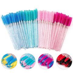 zwellbe 50 Pcs/Pack Disposable Eyelash Brush Crystal Eye Lash Makeup Brushes Mini Mascara Wands Brush Eyelash Extension Tool